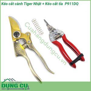Bộ 2 kéo cắt cành cây Nhật và Kéo cắt tỉa thu hoạch hoa quả P911DQ